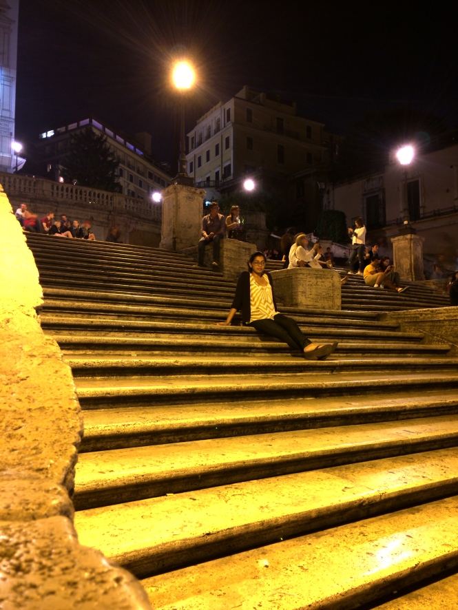 Hanging out on the Spanish Steps, thinking about my next meal